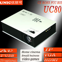 Home theater led Projector UC 80 Can support AV 2USB VGA HDMI IP TV out speaker*2/mobile phone