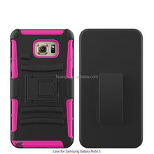 Mobile accessories 3 in 1 PC silicone belt clip hard case hybrid cover for samsung galaxy note 5 china suppliers