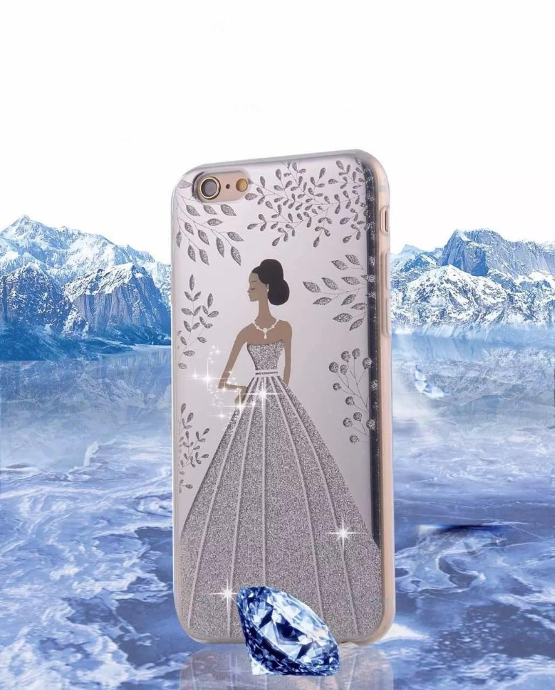 Glitter Beautiful Mobile Phone Back Cover Wedding Dress Girls Case For iPhone 7plus
