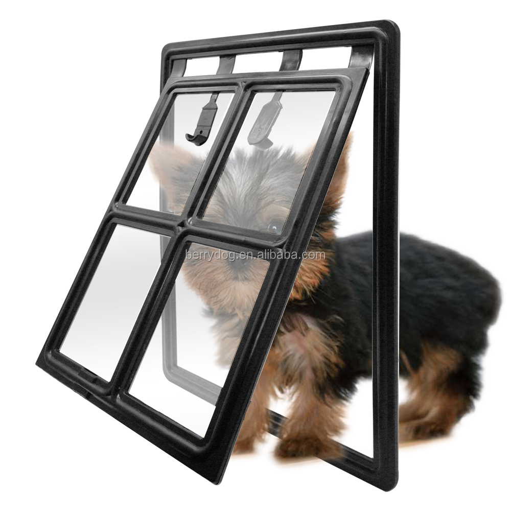 2 Way Easy Screen Lockable Magnet Dog Door Flap Gate for Small Medium Large Dogs