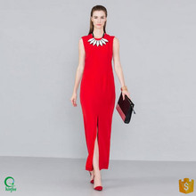 D488 95% Polyester 5% Spandex Womens Red Open Fork Dress Long