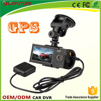 HD G-senor H.264 GPS tracking plotter dual lens car dvr