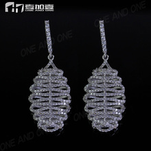 Excellent cut micro pave cz hoop earrings in 925 silver for women