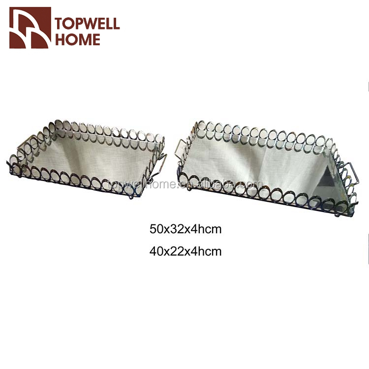 Inexpensive Mirror Design Metal Serving Tray With Handle