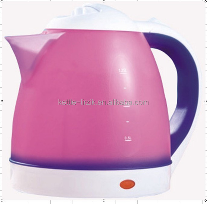 GS standard 2014 New Design Small Home Appliances!!! 1.25L/1600W color changing plastic rapid boil cordless electric kettle