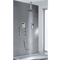 TDRS21 Chrome plated Brass thermostatic Constant temperature digital disply massage rain shower with handheld