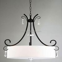 Residential iron white drum pendant light