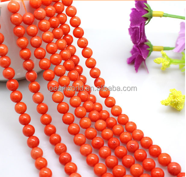 8mm A grade natural orange coral gemstone strand