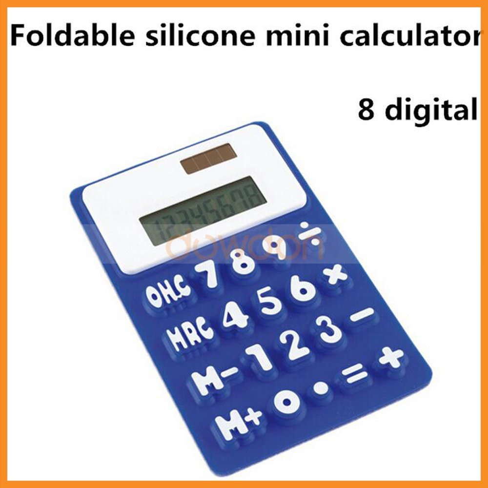 Foldable Silicone PVC Stick-on Magnetic Mini Solar Powered 8 Digits Calculator