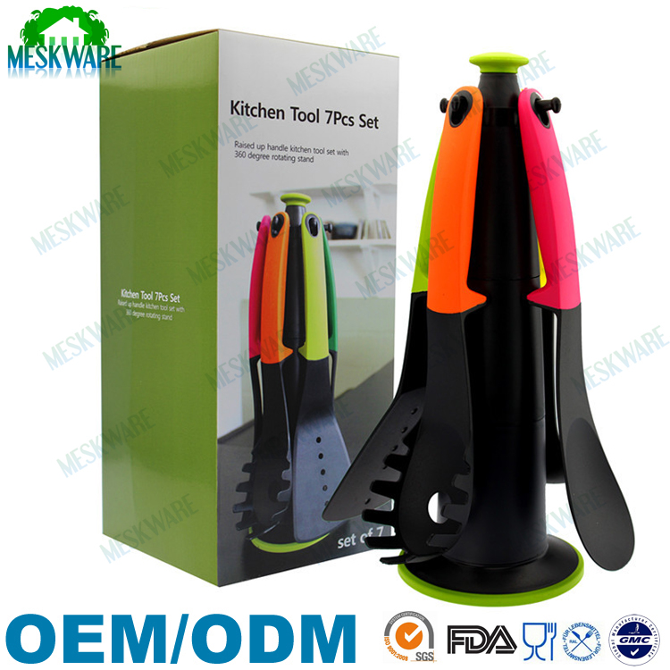 Premium 7-Piece Heat-Resistant Utensil Set with colorful handle kitchenware