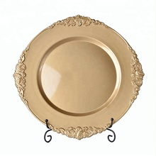 2018 new 33cm gold cheap charger <strong>plates</strong> wedding plastis plastic party <strong>plate</strong>