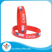 Custom Chile flag printing silicone wristband / Chile flag silicone bracelet for men