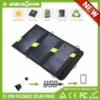 Solar Power Charger 5V 20W Solar Power Battery Charging for Mobile Phone Tablets, Double USB ports output solar charger.