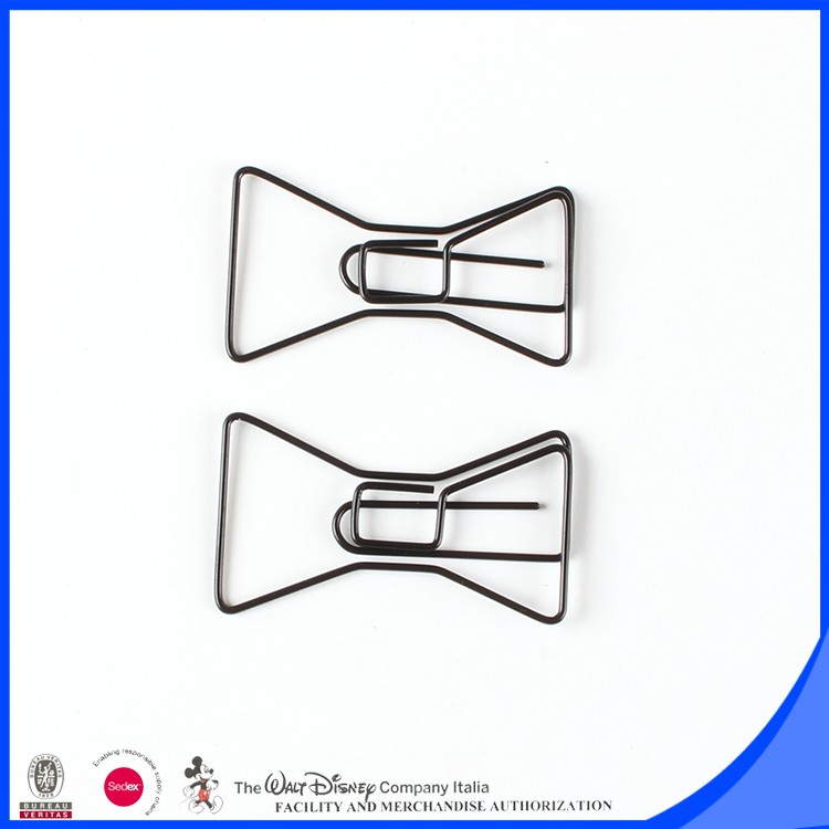 Black color PET bow design file paper clip 40mm L x 20mm W