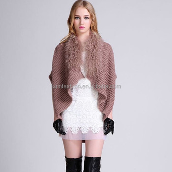 New Products Fashion Knitted Wool Shawl with Sheep Fur Collar Wool Shawl/Cape/Poncho/Scarf/Stole/Wrap