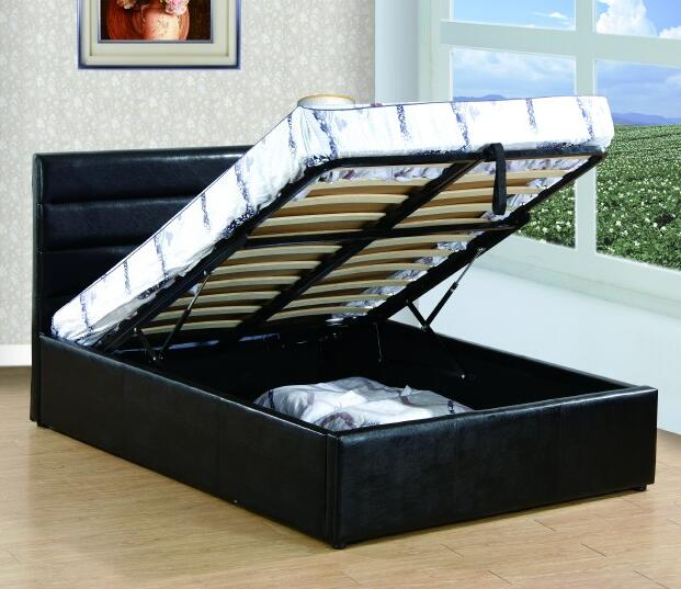 PU leather hydraulic lift up queen storage <strong>bed</strong>