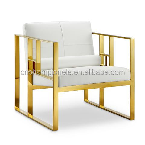 Lounge Chair with polished gold/stainless steel fabric sofa one seater MX-9102