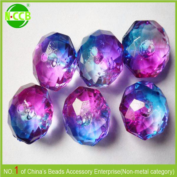 Wholesale Chunky Beads Faceted Transparent Acrylic Beads Plastic Beads For Unique Jewelry