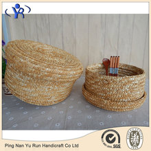 Natural wheat straw storage basket with lid