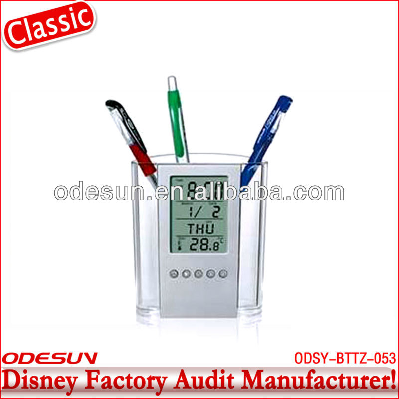 Disney factory audit pen holder with clock 145431
