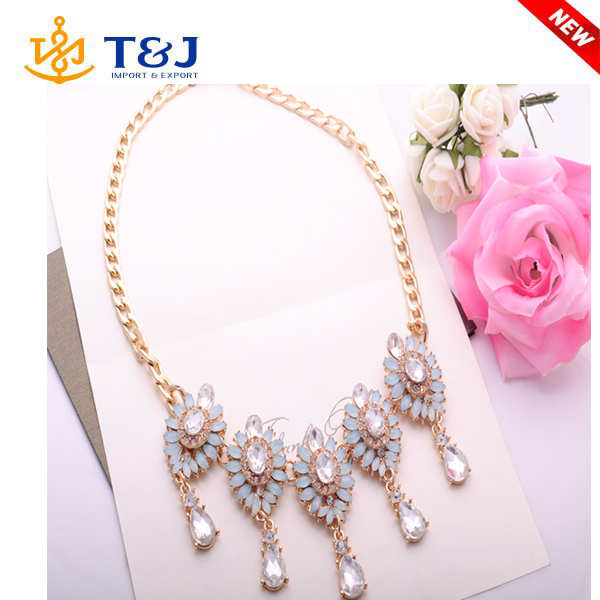 >>>>2016 Wholesale High Quality New Arrival Vintage Jewelry Crystal Flower Chokers Necklaces & Pendants For Woman Gift/