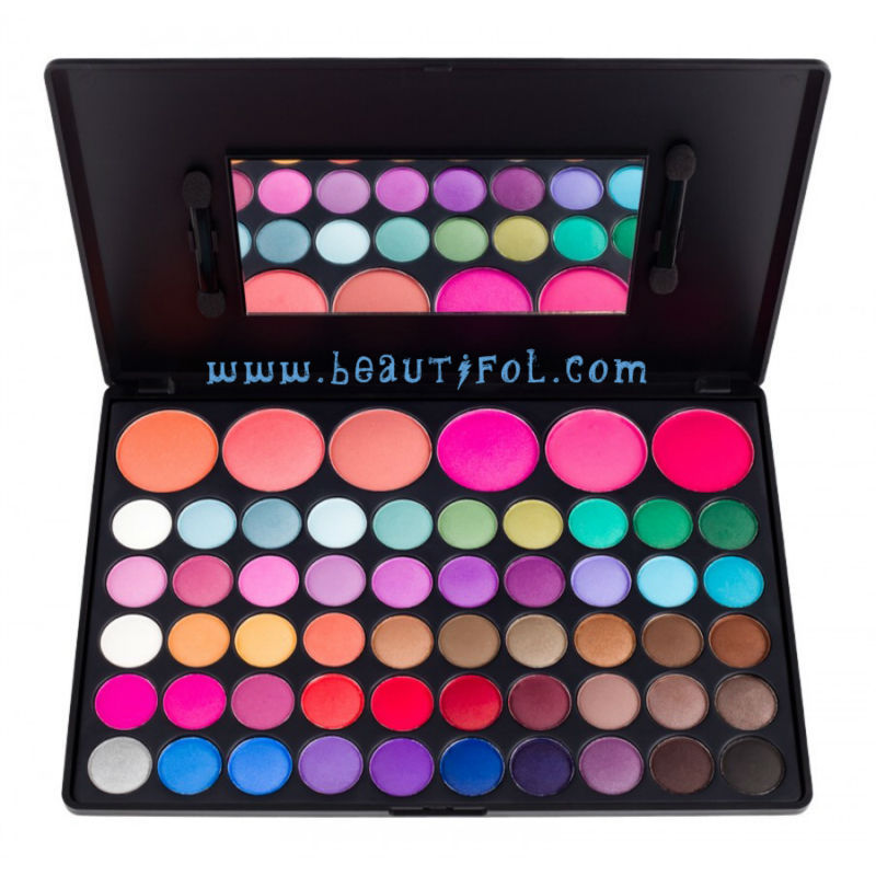 Professional 56 color natural eyeshadow and blush pallet, mineral eye shadow and blusher, cosmetics blushes