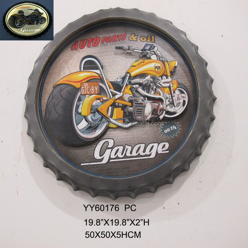 LED Antique motor custom printing metal wall 3D plaque crafts for wall decor