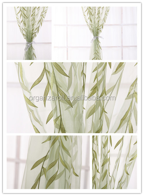 leaf pattern flocking organza curtain for living room
