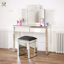 Angled Triple Bevelled Mirrored Dressing Table with Stool And Table