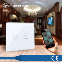 Z-wave Home Automation 3-Gang Remote Controlled Smart Touch WiFi Light Switch With Timing ON/OFF Function as preset