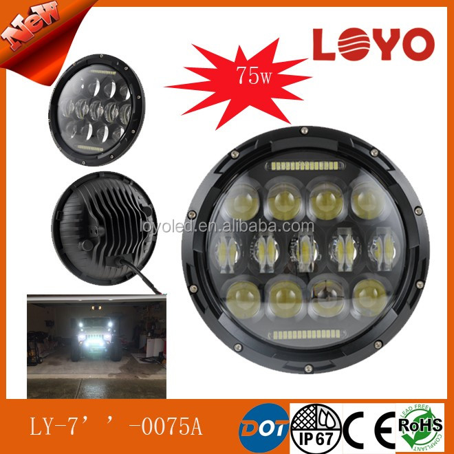 "75w round 7"" led headlight with high/low beam for jeep wrangler"