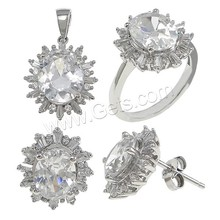 Cubic Zircon bridal jewelry set wedding pendant finger ring earring set jewelry sterling silver jewelry set