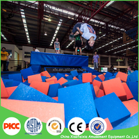 square gymnastic trampoline with foam pit