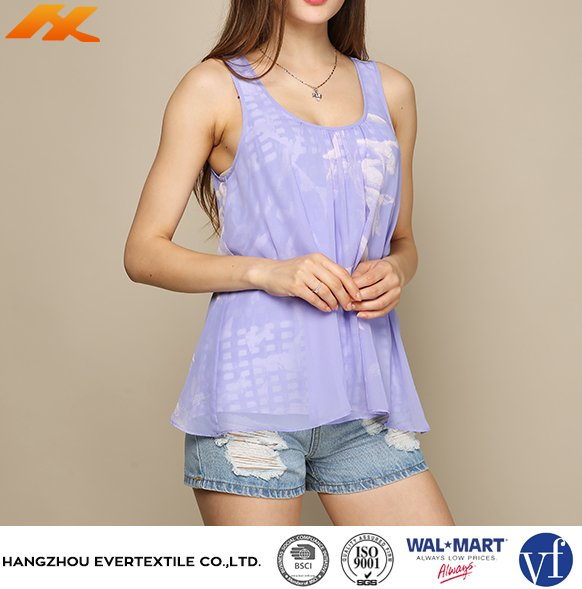 Latest loose chiffon sleeveless embroidery designs ladies tops