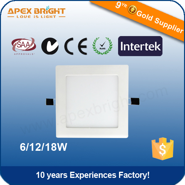 12W LED ceiling lighting super thin panel with 90-100lm/W