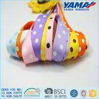 China manufacture easy washing bright yellow grosgrain ribbon polka dot