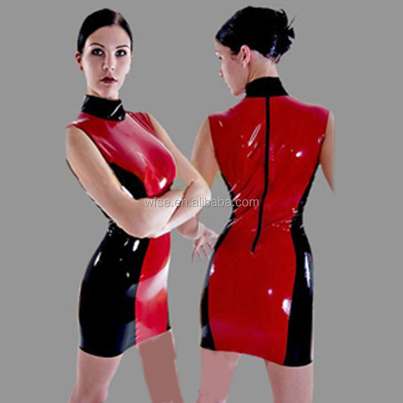Wholesale Women Red and Black Sexy Club Wear,Vinyl Latex Catsuit,Leather Catsuit Bodysuit