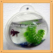 fish and plant decorative display stand on wall high transparent half-round PS material