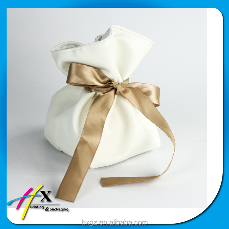 Luxury elegant white satin pouch gift bag silk cloth bag jewelry gift bag
