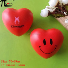 Custom color and logo printing fashion and lovely heart shape pu foam anti stress ball