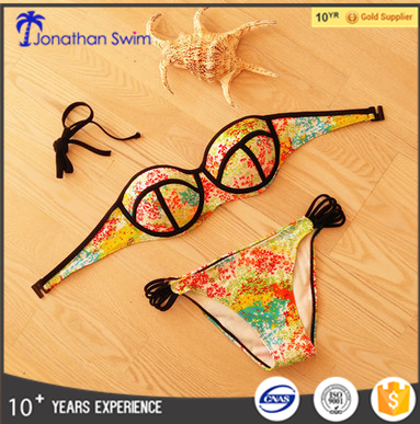 2016 sexy custom printed women push up bikini swimwear