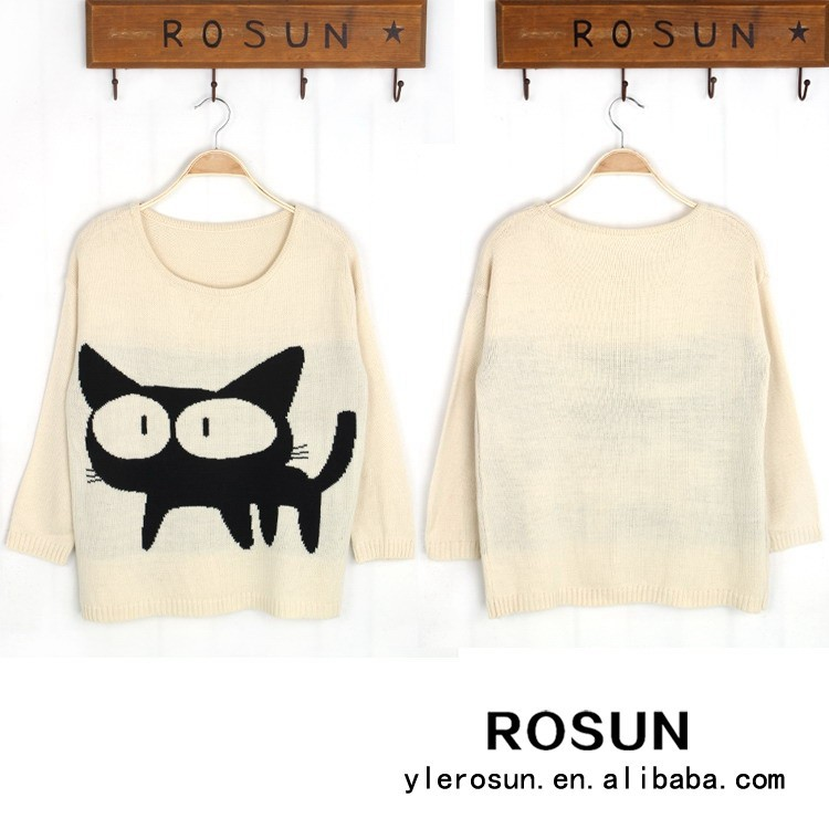 East fashion cute knitting printed big cat sweater latest sweater designs for girls