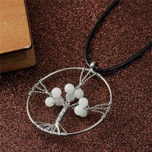 Gemstone Handmade Wire Wrapped Tree Necklace Silver Tone White Round Glow In The Dark Costume Jewellery