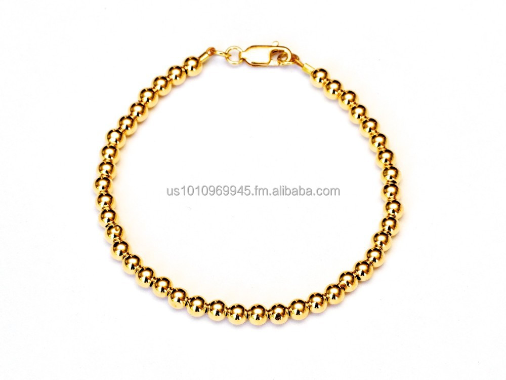 18k Gold Ball Bead Bracelet 2mm, 3mm, 4mm, 5mm
