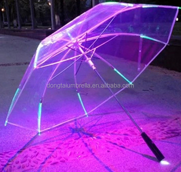 New hot led tansparent umbrella parts with flash light on tips and cap