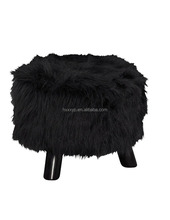Cotton printing Foot stool Rest Ottoman for faux fur stool