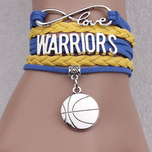 Latest design silver tone basketball pendant alloy letter bead warrior infinity love braided leather bracelet wholesale