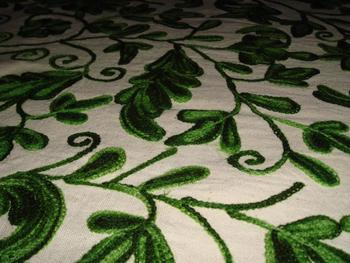 Kashmir's Original Silk Or Cotton Based Chain Stitched Curtain Fabrics (Crewel Embroidery)