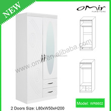 white color 2 doors wooden bedroom wardrobe WR6602