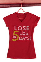 Custom Pattern Rhinestone Pattern Lose 5lbs Days V-neck Red Shirts For Women Factory
